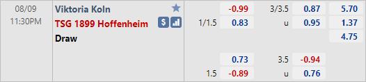 Tỷ lệ kèo bóng đá giữa Viktoria Koln vs Hoffenheim